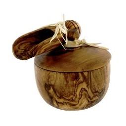 Saleron et cuillière en bois d'olivier