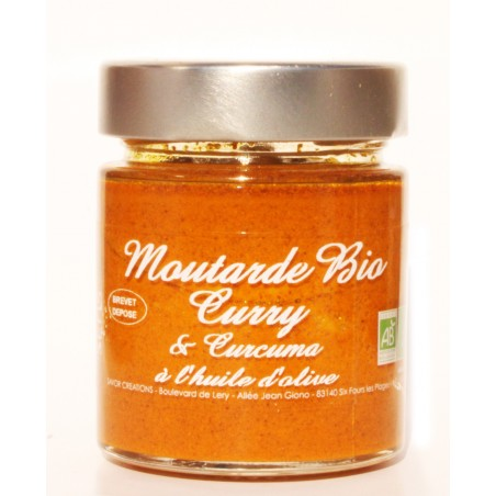 Bio mustard with curry and turmeric/curcuma 130 g