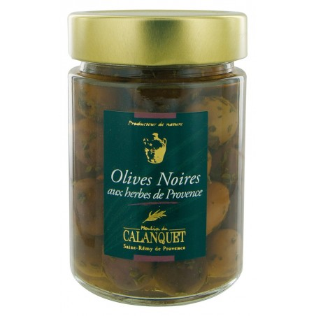 Schwarze Oliven mit Kräutern 175 g