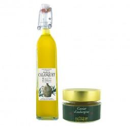Entdeckung Beutel Olivenöl und Auberginenkaviar