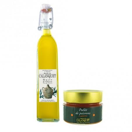 Entdeckung Beutel Olivenöl und gebratenen Paprika