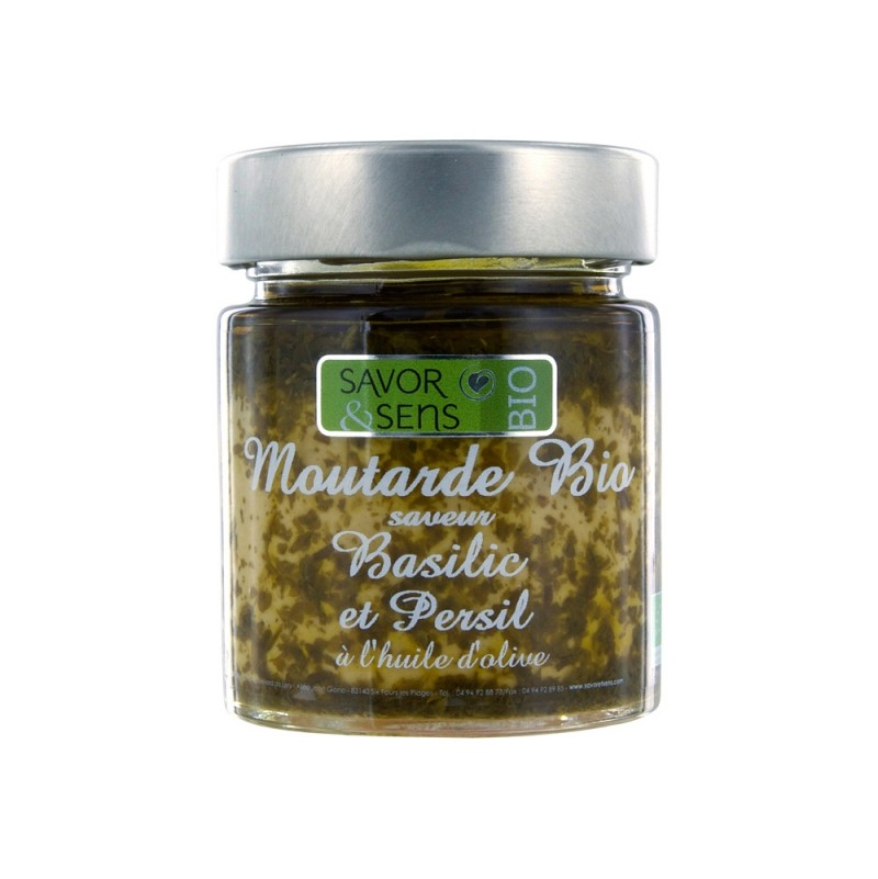 Moutarde Bio au Basilic et au Persil 130g