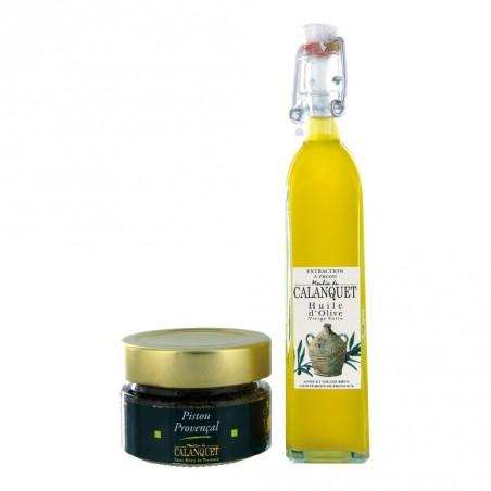 Entdeckung Beutel Olivenöl und Pesto