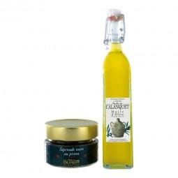 Entdeckung Beutel Olivenöl und schwarze Olivade