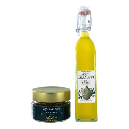 Entdeckung Beutel Olivenöl und grüner Olivade