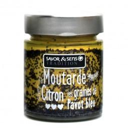 Moutarde saveur citron et graines de pavot bleu