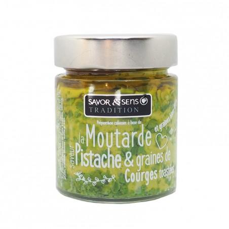 Moutarde saveur pistache et graines de courges toastées